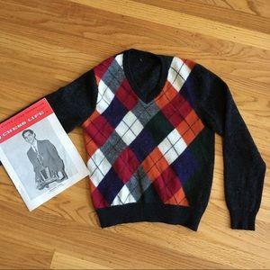 V-neck colorful argyle sweater